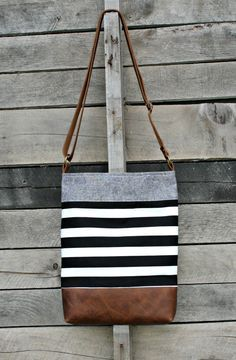 Crossbody Bag, Black and White Stripe, Genuine Leather, Everyday Purse, Adjustable Strap Popular Handbags, Cute Handbags, Cheap Handbags, Purses And Handbags, Luxury Handbags, Luxury Purses, Ladies Handbags, Canvas Handbags, Beautiful Handbags