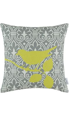 CaliTime Cushion Cover Throw Pillow Shell Shadow Bird Branch Geometric 18 X 18 Inches Yellow Gray Best Price