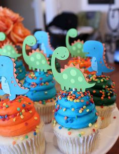 What's your LO's Birthday Party theme? 🙂 – Page 2 Dinosaur Cupcake Toppers Lime Green Orange and Turquoise Blue Boy Dino Birthday Party Decorations Dinosaur First Birthday, 1st Boy Birthday, Purple Birthday, Boy Birthday Cupcakes, Cupcakes For Boys, Purple Party, Girl Cupcakes, Fondant Cupcakes, Fun Cupcakes