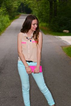 Southern Belle in Training: Cotton Candy Colored. #summerfashion #bright #neon #mint