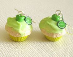 Lime Cupcake Earrings, Polymer Mini Food Earrings with Fruity Green Frosting Mini Cakes. $15.00, via Etsy.