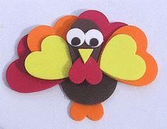 Foam turkey Thanksgiving craft for kids