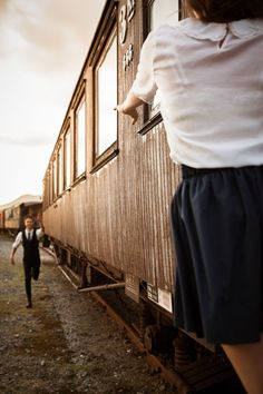 Romantic retro railway- This might be cute for an engagement photo or fun wedding photo...?