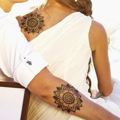 Matching Flower Tattoo for Couples
