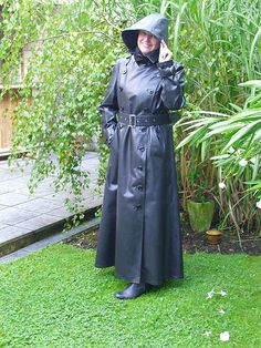Black Rubber Hooded Raincoat