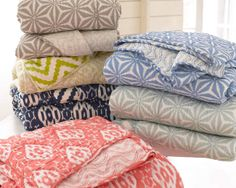New! #PineConeHill Varkala #Quilts. Named for Annie's favorite beach in India, this soft, drapey, lightweight cotton quilt has a reversible pattern that's exclusive to its color combination.