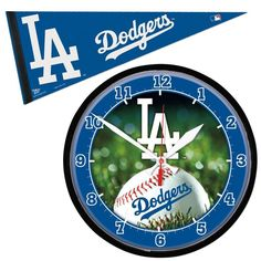 Los Angeles Dodgers MLB Round Wall Clock and Pennant Gift Set