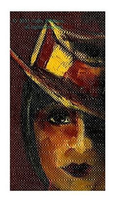 "Amazon.com: ""Dark Lady in a Stripped Hat"" 2013 by Cathy Peterson, 6.5"" x 10"" FINE ART PRINT from original IMPRESSIONIST portrait oil painting. Hand Signed: Handmade"