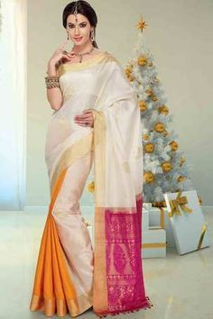 Multi colour silk zari weaved saree in golden border & pink pallu