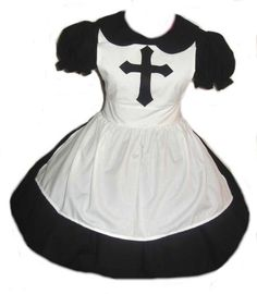 c68d31395a5 Items similar to Goth Nun Dress Gothic Lolita Cosplay Black Dress White  Apron Womens Halloween Costume Custom Size including Plus Sizes Made to  Measure on ...