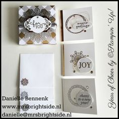 """Stampin' Up! Year of cheer DSP, cheers to the year stamp set and mini 3x3"""" cards with envelopes made by Danielle Bennenk, www.mrsbrightside.nl"""