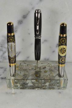 New triple pen pocket pen/desk displays! Custom Pens, Desk Set, Penmanship, Writing Instruments, Stationary, Steampunk, Coffee Maker, Display, Unique Jewelry