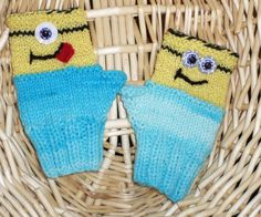 Children's Comical MINION-Like Wrist Warmers FINGERLESS GLOVES Crochet and Knitted by FASHIONABLEINFANT on Etsy