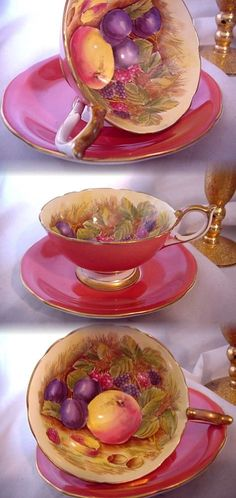 VINTAGE AYNSLEY ENGLAND PINK SHRIMP TEA CUP AND SAUCER FRUIT GOLD SIGNED JONES ! | Pottery & Glass, Pottery & China, China & Dinnerware | eBay!