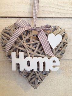 Herz, Rattan, Türdekoration, Home, Shabby, Vintage, Landhaus, 20cm, NEU