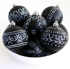 Craft It - Mud Cloth Inspired Ornaments - DIY Christmas Decorations