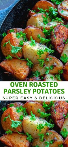 Oven Roasted Parsley Potatoes – Bunny's Warm Oven Oven Baked Parsley Potatoes are easy, delicious and give you a whole lot of bang for your buck, you'll be making them often, Enjoy! Parsley Recipes, Herb Recipes, Side Dish Recipes, Veggie Recipes, Cooking Recipes, Potato Recipes, Side Dishes, Canned Potatoes, Potatoes In Oven