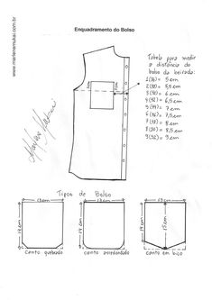 Enquadramento-do-bolso. Sewing Collars, Sewing Shirts, Sewing Clothes, Sewing Coat, Dress Sewing, Sewing Lessons, Sewing Hacks, Mccalls Patterns, Sewing Patterns