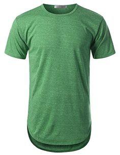 fd1f9d44663 Amazon.com: URBANCREWS Mens Hipster Hip Hop Elong Round Hemline Crewneck T- shirt: Clothing