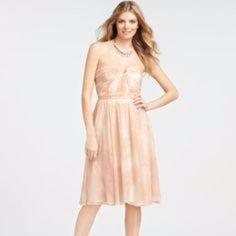 Silk Print Strapless Dress