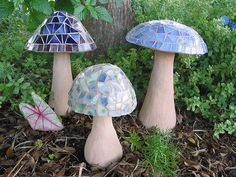 Concrete mushrooms, mosaic in stained glass.