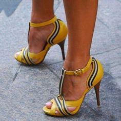 Shoespie Yellow Patchwork Peep Toe Stiletto Heels