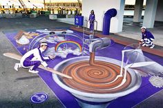 3D chalk art chocolate wonderland at Silo Park, by artists Jenny McCracken and Anton Pulvirenti.