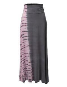 Womens Fold Over Tie Dye Floor Length Maxi Skirt