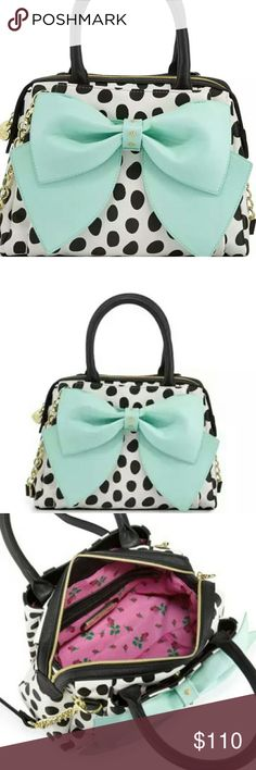 "NWT  Betsey Johnson Bow Tote Satchel Beautifully patterned pastel bow bag from Betsey johnson, perfect for spring and summer! Measurements: 9"" height, 11"" width, 3.8"" depth, 19"" strap drop. Front and back slip pockets, interior zip pocket. Feel free to make an offer! Betsey Johnson Bags"