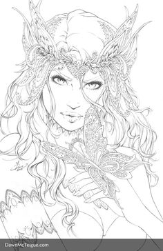 Coloriage Elfe New Coloriage Artist Dawn Mcteigue+ Ausmalbilder New Fairy Coloring Pages, Printable Coloring Pages, Adult Coloring Pages, Coloring Sheets, Coloring Books, Colorful Drawings, Colorful Pictures, Free Coloring, Line Art