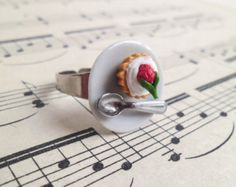 Cake Ring Strawberry Tart Ring Adjustable Ring Miniature Food Ring Statement Ring Silver Ring  Kitsch Ring Kitsch Jewelry MA