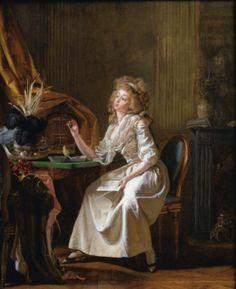 MICHEL GARNIER SAINT-CLOUD 1753 - 1819 PARIS ELÉGANTE REGARDANT UN PORTRAIT MINIATURE