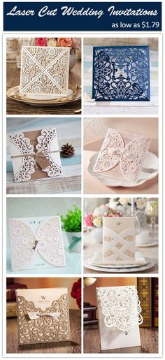 beautiful laser cut wedding invitations with free rsvp cards at ElegantWeddingInvites