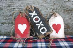 FREE SHIP XoXo Happy Valentine's Heart Love wood Wreath Tags Day Rustic by TheUnpolishedBarn