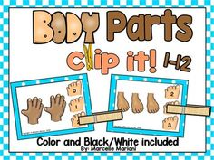 This package provides a BODY PARTS- count and pin math center counting activity suitable for pre-kg to kindergarten students.  This package offers a count and pin center activity COVERING NUMBERS 1-12.  There are 12 color cards covering numbers 1-12 and 12 duplicates in black and white************************************************************************ PLEASE BE ADVISED THAT THIS RESOURCE HAS BEEN EXTRACTED FROM MY   ALL ABOUT MY- MY BODY THEME…