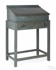 Connecticut painted pine schoolmaster's desk, 19th c., retaining a pristine original blue surface, 49 3/4'' h., 34'' w. Provenance: The Dianne Goldman Co