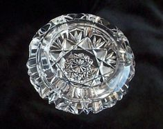 Vintage Cut Glass Ashtray - Crystal - Cottage Country -