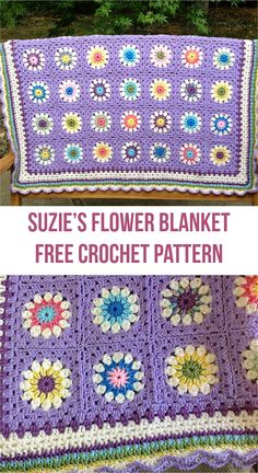 Suzie's Flower Blanket Free Crochet Pattern #crochet #blanket #flowers