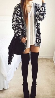 ← how to wear thigh high socks Thigh high socks with ethnic printed cardigan and tank top is a great mixture of candor with