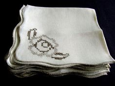 8 Vintage Embroidered Linen Napkins c.1930 by chalcroft on Etsy, $16.00