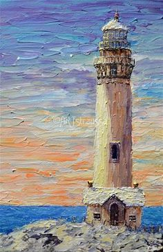 """Daily Paintworks - """"Pigeon Point Lighthouse"""" - Original Fine Art for Sale - © Gloria Ester"""