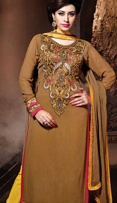 Indian Traditional Brown Georgette A Line Suit