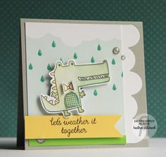 Card by Heather Pulvirenti. Reverse Confetti stamp sets: Later Alligator and Weather It Together. Confetti Cuts: Wonky Double Edge Scallop Border, Later Alligator and Weather It Together. Quick Card Panels: Weather or Dot (and stripes). Encouragement card. Friendship card.