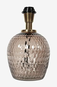 Bordlampe Julia, 27 cm Glass Table Lamp, Lamp Holder, Interior Inspiration, Lamp, Solid Brass, Perfume Bottles, Lamp Bases, Light, Glass