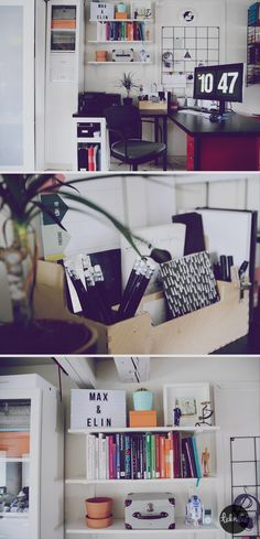 Home office / Tech blogger Elin Häggberg shows her remade desk space / Teknifik / Iron mesh wall organizer / Scandinavian / whimsical / colorful /