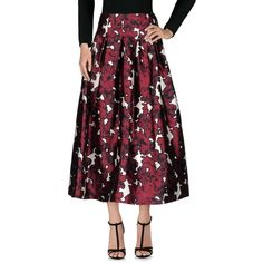 Oscar De La Renta Long Skirt ($690) ❤ liked on Polyvore featuring skirts, maroon, long print skirt, zipper skirt, ankle length skirts, pleated maxi skirts and long maroon skirt