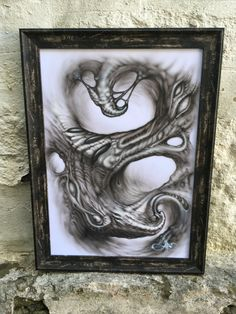 Original black and grey airbrush painting framed