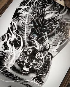 No photo description available. Dragon Tattoos For Men, Dragon Sleeve Tattoos, Back Tattoos For Guys, Japanese Mask Tattoo, Japanese Tattoo Designs, Back Piece Tattoo, Tatoo Designs, Geniale Tattoos, Asian Tattoos