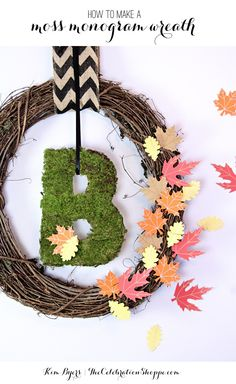 How To Make A Moss Monogram Wreath + Elmer's New Hot Glue Gun Without The Hot Mess | @kimbyers