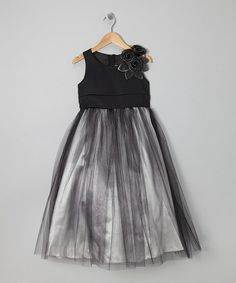 This Silver & Black Rosette Tulle Dress - Toddler is perfect! #zulilyfinds